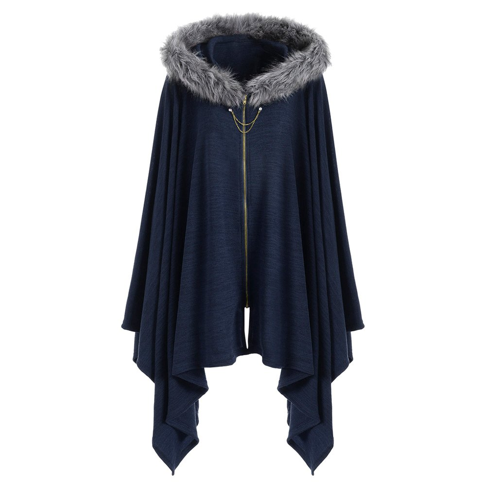 DEZZAL Women's Plus Size Faux Fur Insert Zip up Asymmetrical Hooded Cape Coat (Blue, 2XL)