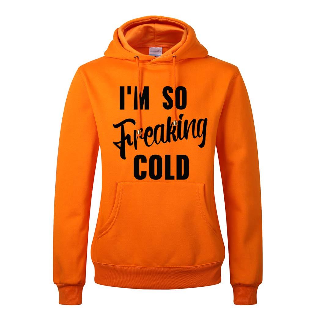 VVTS Womens Fleece Pullover Hoodie Im So Freaking Cold Printing Long Sleeve Drawstring Hooded Sweatshirts