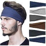 Headbands For Men Women, 6 PCS Running Sports Headbands Elastic Non Slip Sweat Headbands Workout Hair Fashion Bands for boys