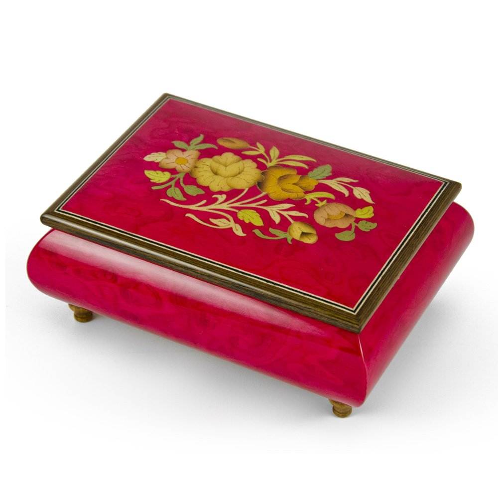 Old World 18 Note Italian Red Floral Music Jewelry Box - There is No Business Like Show Business