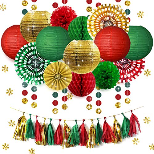NICROLANDEE Gold Green Red Paper Lanterns Party Decorations Hanging Paper Fans Tissue Flowers Poms Tassel Garland Dots Banner Glitter Table Confetti for Wedding Birthday Home Room Wall Decor