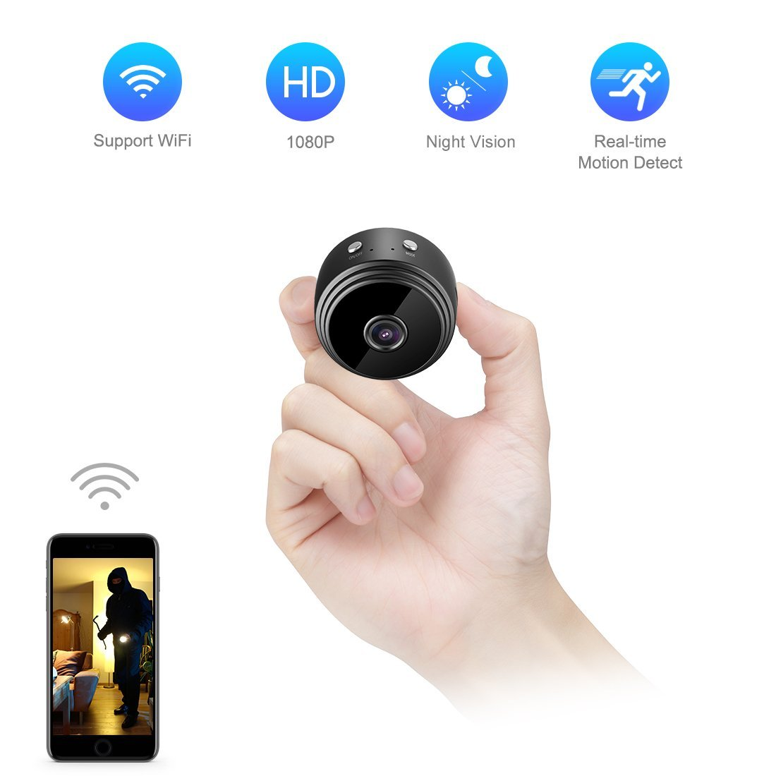 Mini Spy Camera WiFi Hidden Camera TODAYI Wireless HD 1080P Indoor Home Small Spy Cam Security Cameras/Nanny Cam Built-in Battery with Motion Detection/Night Vision