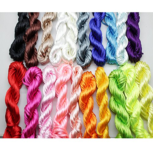 New 20bundles 200Yards 2.5mm Satin/Rattail Silk Cord for Necklace Bracelet Beading Cord by PAMIR TONG
