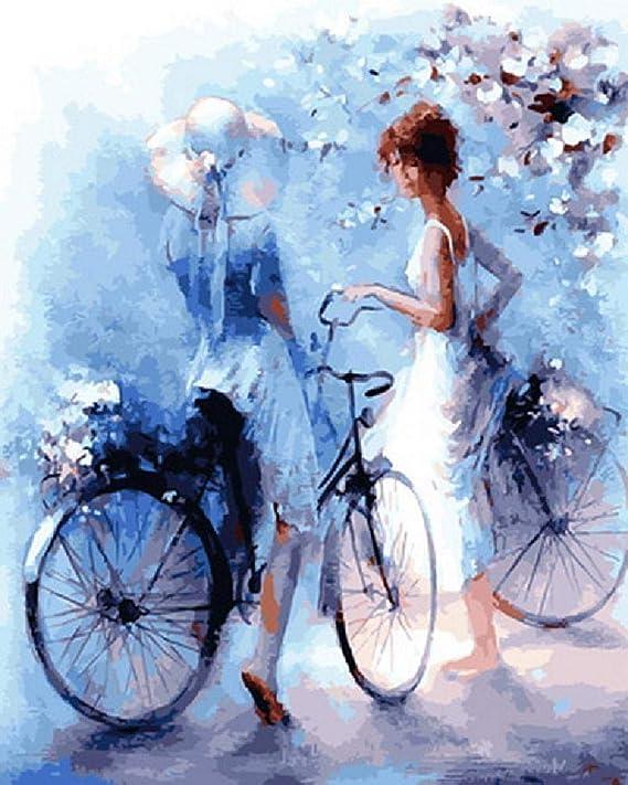 Puzzle Adulto 1000 Piezas Pintura Al Óleo Artística A Dos Chicas En Bicicleta. Hecho De Tablero De Madera No Se Deformará: Amazon.es: Hogar