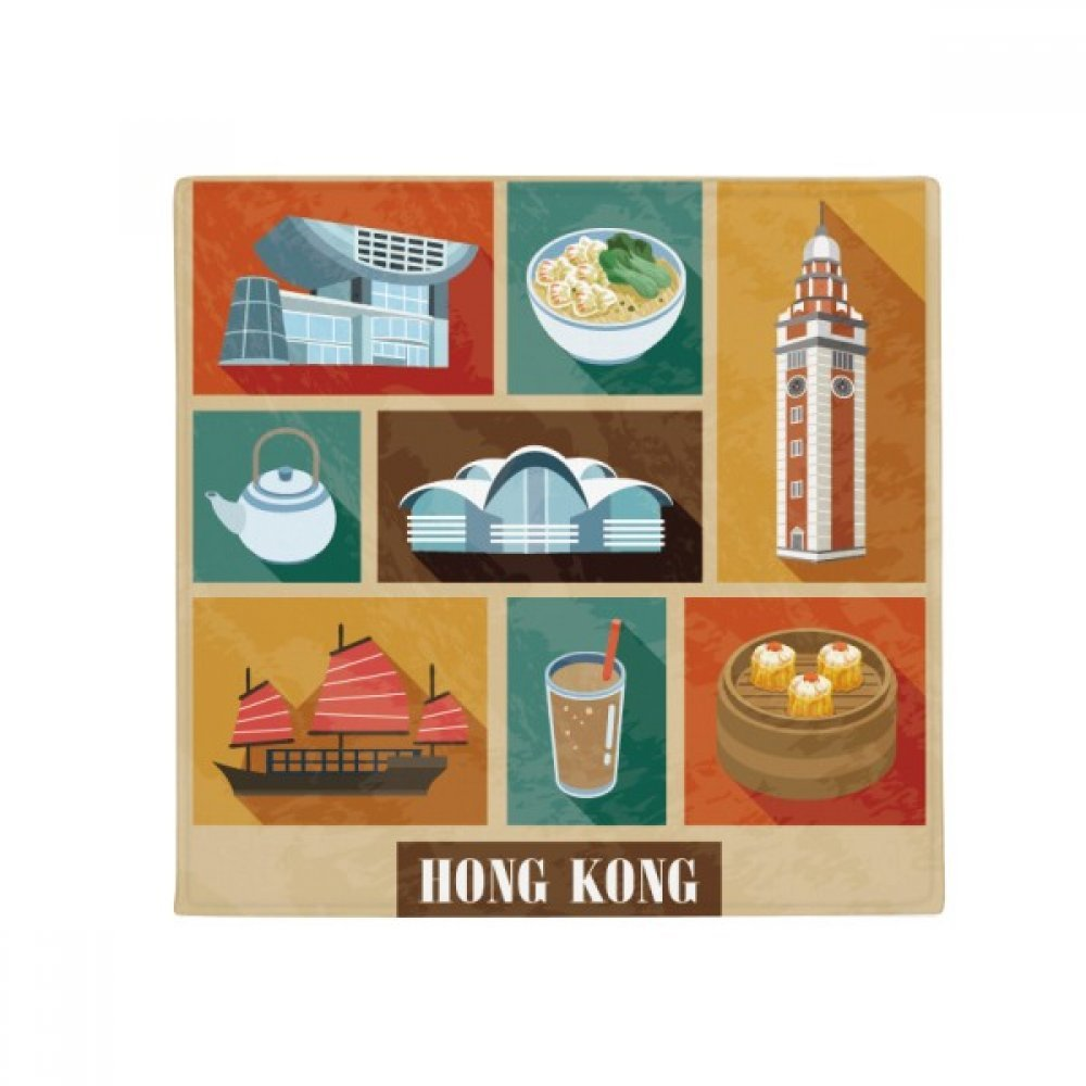 DIYthinker Hong Kong Local Food and Place Anti-Slip Floor Pet Mat Square Home Kitchen Door 80Cm Gift