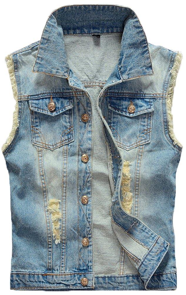 Mochoose Men's Casual Slim Cowboy Denim Vest Jean Gilet Jacket Outerwear