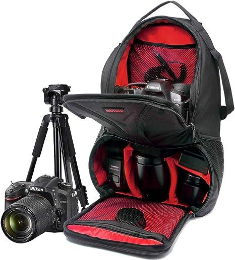 WUZHENG Estuche para cámara Sling Backpack para Nikon Canon Sony y Otras cámaras y Lentes DSLR, Otros Accesorios, Bolsa Impermeable y Resistente a la Rotura,Red: Amazon.es: Deportes y aire libre