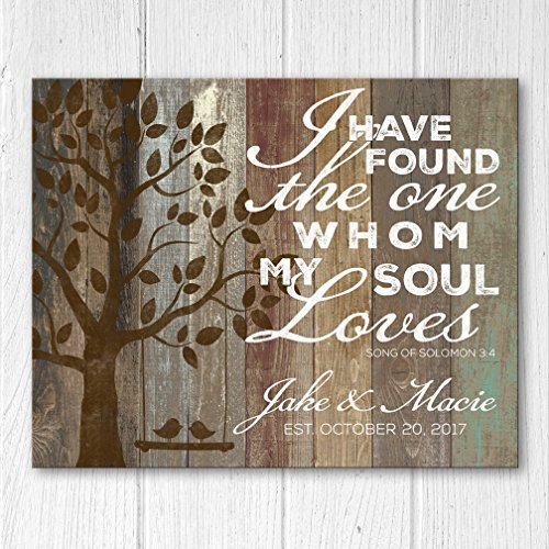 Personalized Wood Family Established Sign, Song Of Solomon 3:4, Personalized Wedding Anniversary Gift