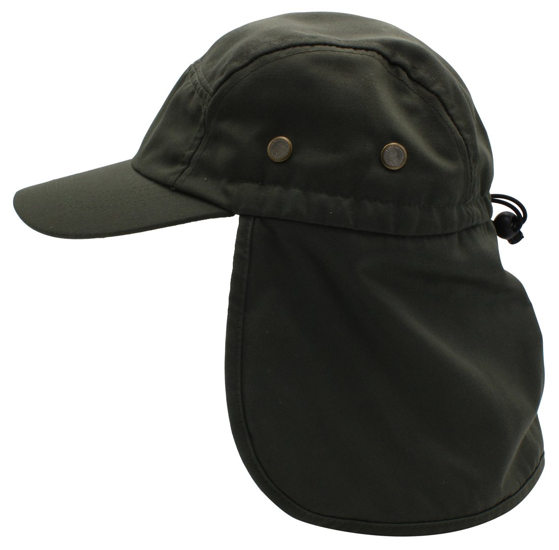 Top Level Fishing Sun Cap UV Protection - Ear and Neck Flap Hat BLK