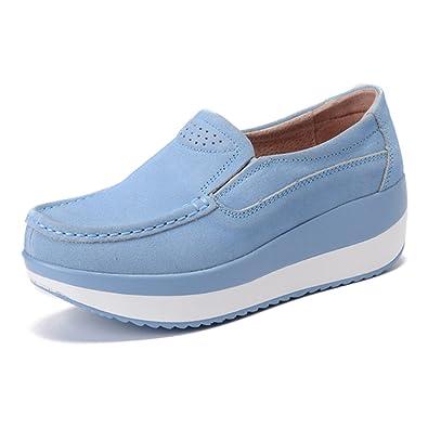 96f84fc0dcb gracosy Women s Platform Suede Shoe,Slip On Loafers Casual Rocker Sole  Large Size Mid Heels