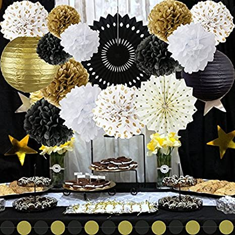 New Years Decorations Gold Black White Party Decor Kit Tissue Paper Pom Poms Flower Lantern