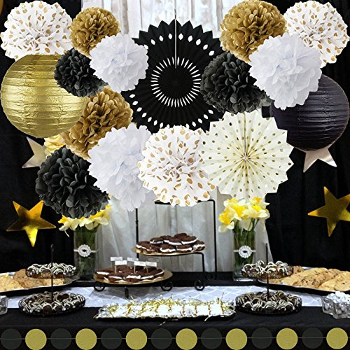 New Years Decorations Gold Black White Party Decor Kit Tissue Paper Pom Poms Flower Paper Lantern Gold Polka Dot Tissue Fans Party Hanging Decor Favor for Birthday Decoration Black Gold Themed Decor