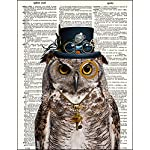 """Dictionary Art Print - Steampunk Owl """"Sir Oliver Owlfeather"""" with Top Hat and Goggles and Skeleton Key - Printed on Recycled Vintage Dictionary Paper - 8""""x11"""" - Mixed Media Poster on Vintage Dictionary Page 7"""