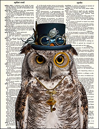 """Dictionary Art Print - Steampunk Owl """"Sir Oliver Owlfeather"""" with Top Hat and Goggles and Skeleton Key - Printed on Recycled Vintage Dictionary Paper - 8""""x11"""" - Mixed Media Poster on Vintage Dictionary Page 4"""