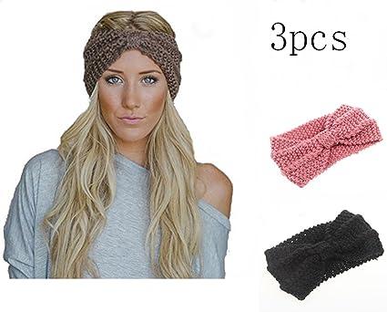 3 Pcs Bandeau Laine Bandeau Cheveux Femme Fille Tricote Bandeaux De