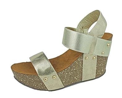 e5d04d42762fa Pierre Dumas Women's Ellie-1 Vegan Leather Slip-On Gladiator Style Strappy  Faux Cork