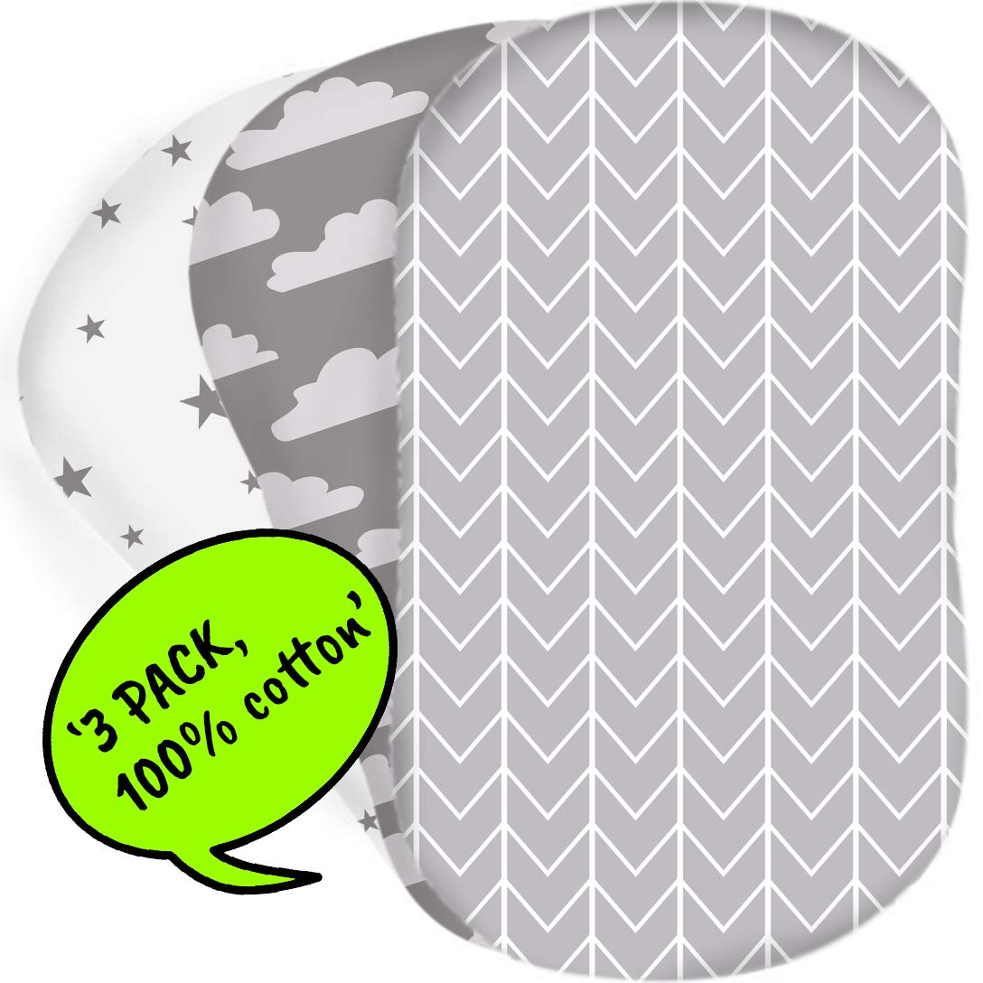 Bear's Little Fish 3-Pack of Bassinet Sheets | 100% Hypoallergenic Jersey Cotton | Gender Neutral Grey and White for Baby boy or Girl | Fitted Crib Sheets for Oval, Rectangle and Hourglass Mattress by Bear's Little Fish