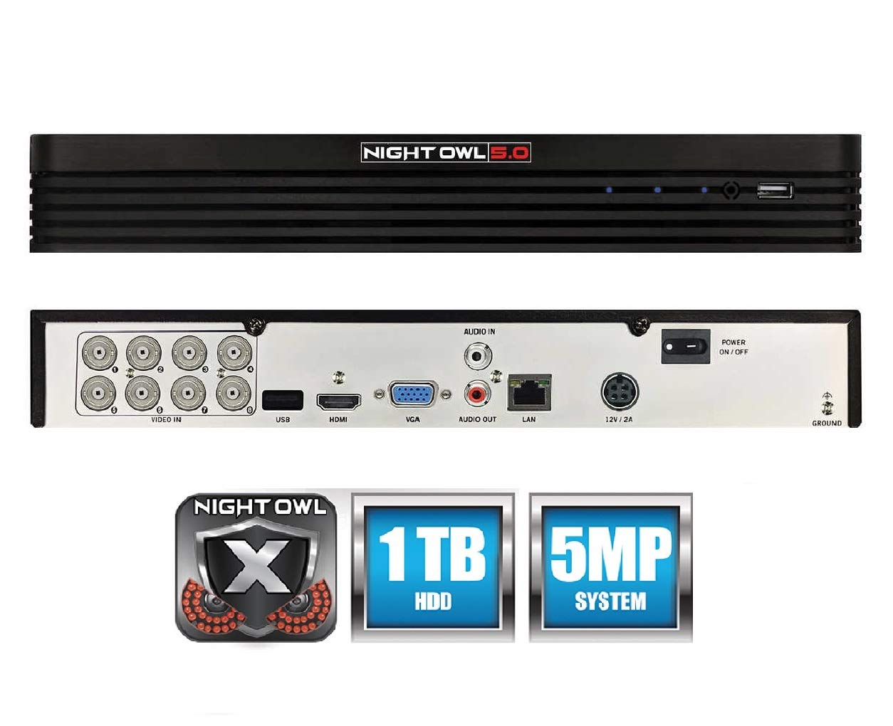 Night Owl 8-Channel 5MP Extreme HD 5.0 DVR 1TB (Compatible with All AHD and HDA Cameras) by Night Owl