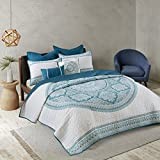 Green and Grey Cotton, 7-Piece Cal King Coverlet Set, Modern Style and Medallion Pattern Includes Cross Scented Candle Tart