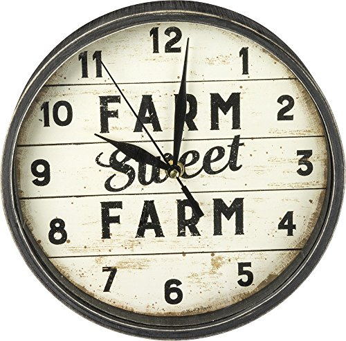 (Primitives by Kathy Distressed Round Slatted Wood Clock Sweet Farm)