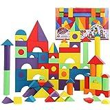 Bemixc 積み木 赤ちゃんおもちゃ 男の子 女の子 型はめEVA素材 組み立て ブロック 知育おもちゃ 贈り物 誕生日お祝い クリスマスプレゼント (131PCS)