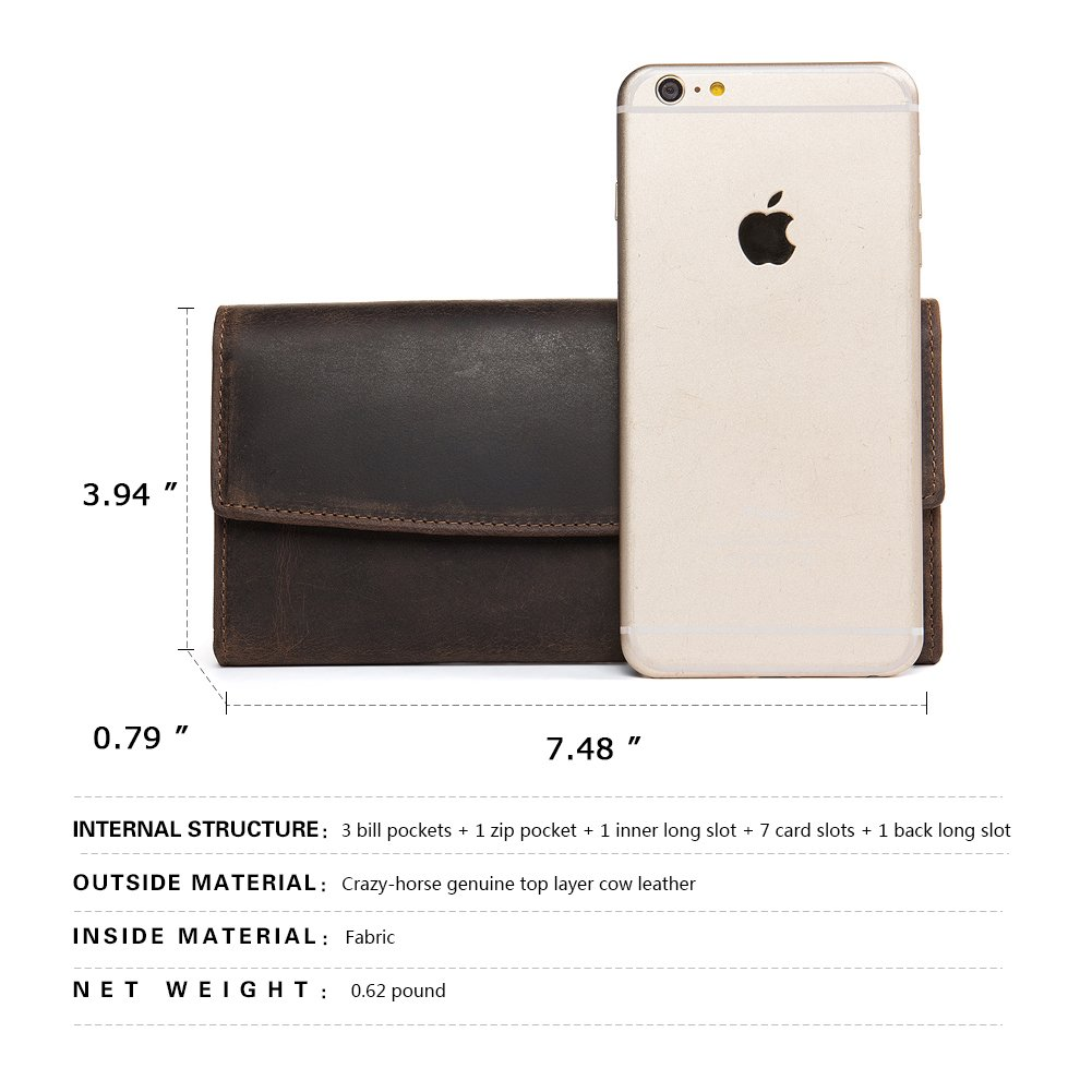 WESTBRONCO Leather Mens Wallet RFID Blocking Clutch Zipper Around Multi Card Holder Organizer