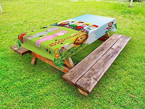 Ambesonne Cartoon Outdoor Tablecloth, Kids Nursery Design Happy Children on a Choo Choo Train with Safari Animals Artwork, Decorative Washable Picnic Table Cloth, 58 X 120 Inches, - In Table 120 Work