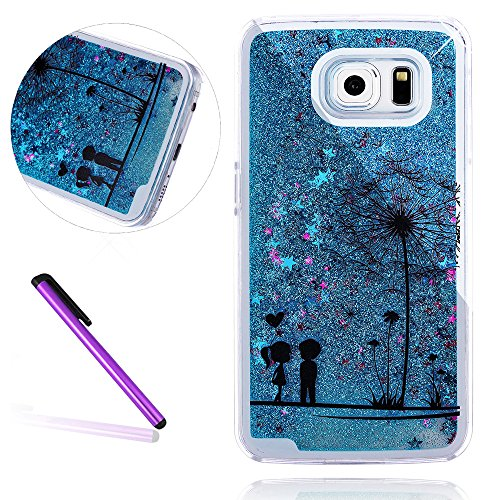 Galaxy S7 Case Samsung Galaxy S7 Case for Girls EMAXELER 3D Creative Design Angel Girl Flowing Liquid Floating Bling Shiny Liquid PC Hard Case for Samsung Galaxy S7 Blue Couple Dandelion