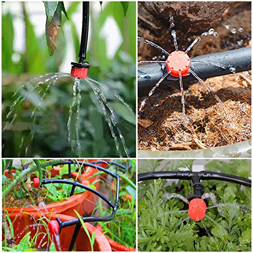 Alaine 100Pcs Emitter Dripper Kits 1//4 Micro Drip Irrigation System Adjustable Watering Drippers Sprinklers Garden Supplies