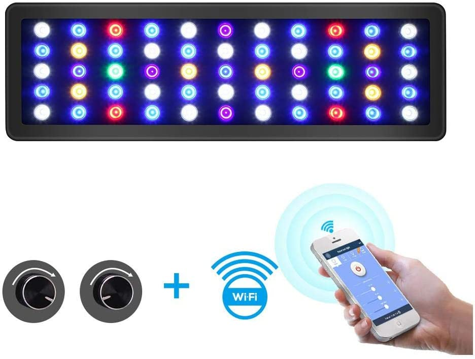 XXDMZ LED Aquarium Light Panel,WiFi Dimmable LED Aquarium Light Marine Light Aquarium Led Lighting Lamp for Reef Coral Fish