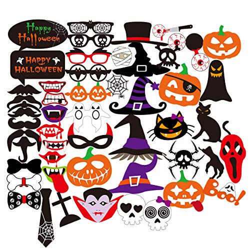 Halloween Photo Booth Props 52pcs DIY Spooky Party Favor Photo Booth Costumes Decoration Kit, Ghost Black Cat Vampire Eyeball Skull Witch hat