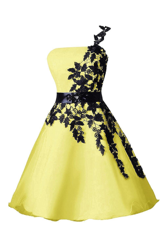Yellow DianSheng Short Organza Homecoming Dress One Shoulder Homecoming Dress CK339