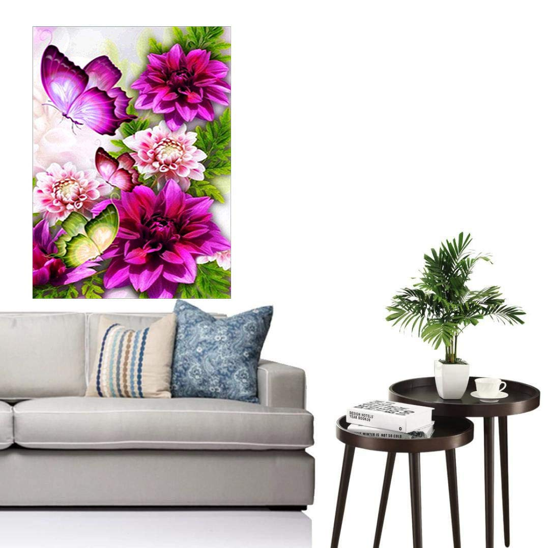 DIY 5D Diamond Painting Kit Full Diamond Butterflies and Flowers Embroidery Rhinestone Cross Stitch Arts Craft Supply for Home Wall Decor 30x40 cm