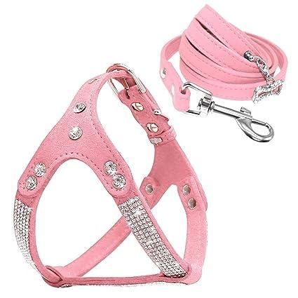Amazon.com : Beirui Soft Suede Rhinestone Leather Dog Harness Leash