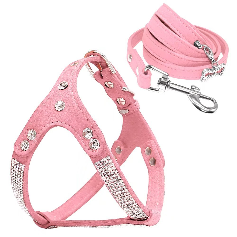 """Beirui Soft Suede Rhinestone Leather Dog Harness Leash Set Cat Puppy Sparkly Crystal Vest & 4 ft Lead for Small Medium Cats Pets Chihuahua Poodle Shih Tzu,Pink,Medium Chest for 17-19.5"""""""