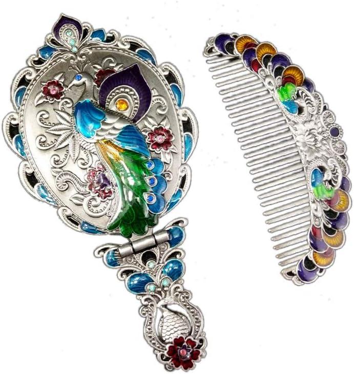 Vintage estilo Rusa – Espejo de mano pavo real Espejo Cosmético Plegable con peine Mango Portátil Espejo Set Plata: Amazon.es: Belleza