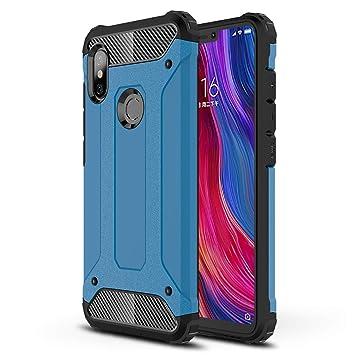 HUUH Funda Xiaomi Redmi Note 6/Xiaomi Redmi Note 6 Pro Carcasa Caja de teléfono móvil, combinación TPU + PC, Hermosa Mano de Obra(Azul)