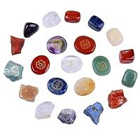 Chakra Stones Reiki Healing Crystal With Engraved Chakra Symbols Holistic Polished Stones, Natural Rough Raw Stone, Chakra Tumbled Stones Polished Crystals Set of 21