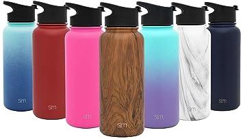Simple Modern Summit Botella De Agua + Segunda Tapa - Acero Inoxidable 18/8, Doble Pared y Aislamiento Al Vacío - 6 tamaños, 22 Colores