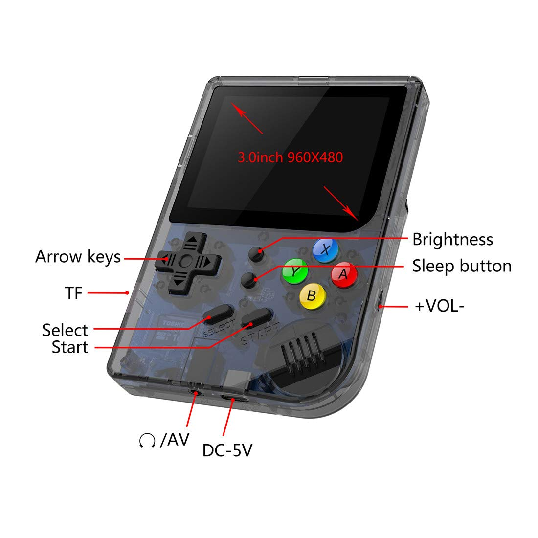 3 INCH Video Games Portable Retro FC Console New BittBoy Retro Game Handheld Games Console Player RG 300 16G 3000 Games Best Gift (Black) by Neutral (Image #3)