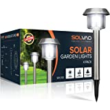 SOLVAO Solar Garden Path Lights (4 Pack) - Landscape Pathway Lighting w/ Waterproof Stainless Steel Design for Outdoor Walkways - Includes Auto On/Off Feature & Ground Stakes