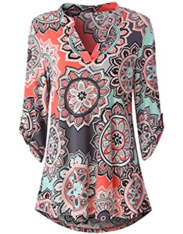89bc96341 Zattcas Womens Floral Printed Tunic Shirts 3/4 Roll Sleeve Notch Neck Tunic  Top