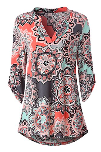 Zattcas Womens Floral Printed Tunic Shirts 3/4 Roll Sleeve Notch Neck Tunic Top (Small, Multi Coral) ()