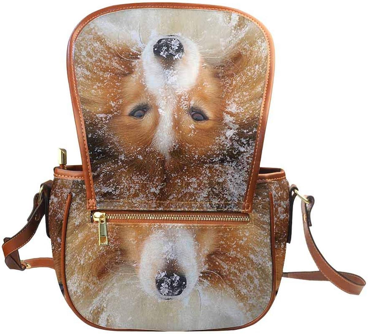 INTERESTPRINT Welsh Corgi in Snowy Forest Satchel Purses handbag Tote Bags Wallets for Women