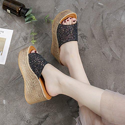 cool 11cm Black nvliangxie Pescado F6 Boca inferior verano Super zapatillas exterior de arrastre mujeres alto grueso hembra y sandalias Aa pendiente de xIgaaq