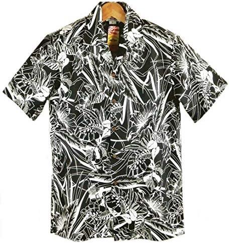 アロハシャツ メンズ ハワイ製 ブラック/ナイトフォレスト パシフィックレジェンド コットン