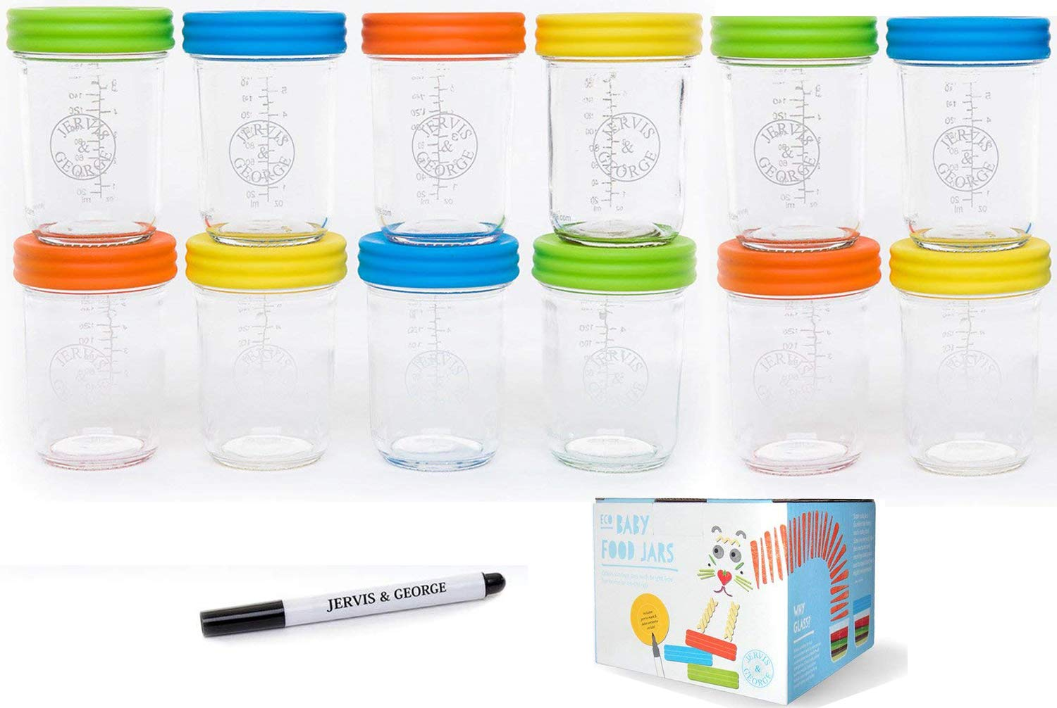 Glass Baby Food Storage Containers - Set contains 12 Small Reusable 8oz Jars with Airtight Lids - Safely Freeze your Homemade Baby Food