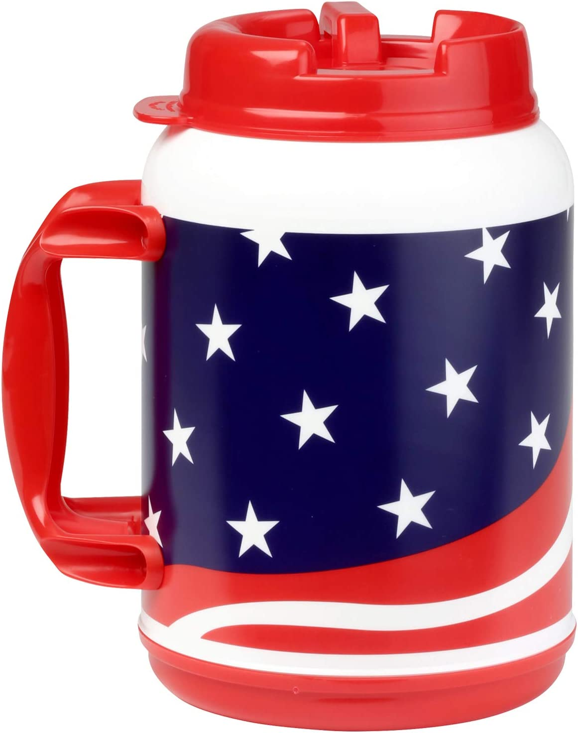 64 Ounce Insulated USA Flag Mug with Handle and Flexible Straw with Cap