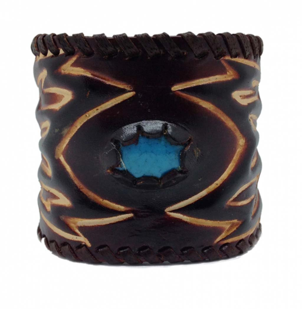 Leather Wristband Wristband Brown Turquoise