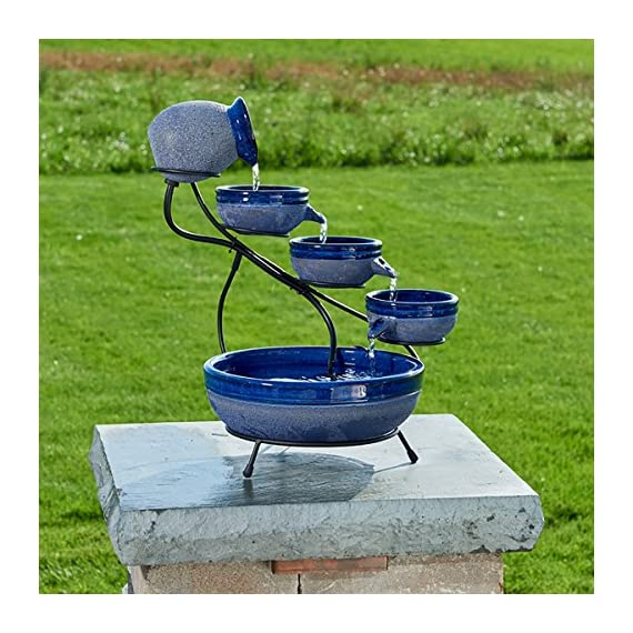 "Smart Solar 23967R01 4-Tier Solar Powered Cascading Fountain, Blueberry And Rustic Blue,  Powered By A Separate Included Solar Panel Along With a 10-Foot Cable - Assembled Dimensions: 17.5"" L X 15.5"" W X 22.0"" H  Solar Powered 4 Tier Cascading Fountain Creates A Relaxing Atmosphere On Your Patio, Deck, Balcony Or In Your Garden - patio, outdoor-decor, fountains - 61ZY72dBINL. SS570  -"